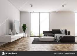 Weiße Moderne Wohnzimmer Interieur Mit Loft Fenster Einen Hölzernen
