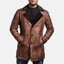 mens cinnamon distressed leather fur coat 3