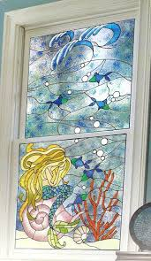 faux stained glass window diy faux stained glass window weeping mermaid colorful faux stained