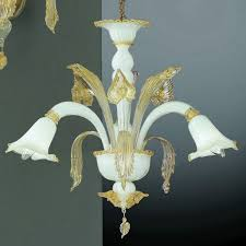 laa 3 lights murano chandelier white gold color