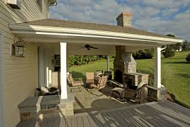 Covered Porch with Stone Hearth, Fireplace and Attached Deck contemporary- veranda