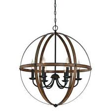stella mira 6 light barnwood and oil rubbed bronze chandelier