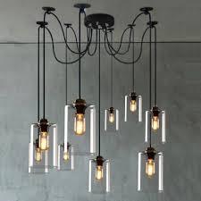 clear glass pendants lighting. Nine-light Cylinder Clear Glass Pendant In Industrial Style Pendants Lighting