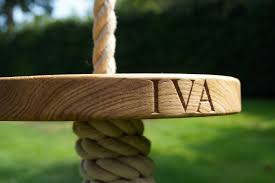 Tree Swings Engraved Oak Swings With Rope Makemesomethingspecialcom
