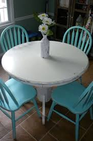 diy painted dining table diy white chalk paint on wood round table turquoise