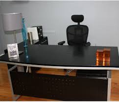 desk office design wooden office. Furniture : Black Stained Wood Office Desk Along With White Iron Frame And Chair Design Wooden O