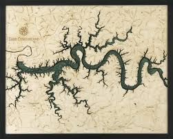 Lake Cumberland Wood Carved Topographical Depth Chart Map