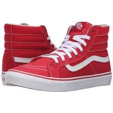 vans shoes red and white. vans sk8-hi slim (racing red/true white) skate shoes red and white l