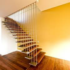 interior vertical railing floating staircase with wooden steps design