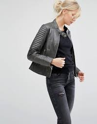 asos barney s originals asymmetric leather biker jacket with quilted shoulder detail on