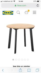 ikea gamlared round dining table perfect condition 75cm high 85cm dia pine top black legs