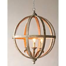 3r studio wood and iron four light globe chandelier
