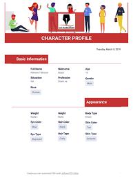 Character Profile Template Pdf Templates Jotform