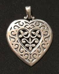 Scroll Heart Details About James Avery Rare Retired Flower Vine Scroll Heart Large Pendant Sterling Silver