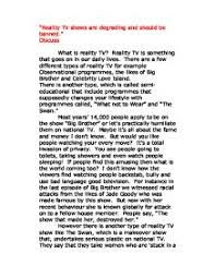 reality tv shows are degrading and should be banned gcse  page 1 zoom in