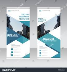 banner design template blue business roll banner flat design stok vektör 416431990