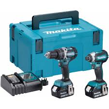 makita cordless tools. makita dlx2180tj 18v cordless twin kit including the dhp484 combi drill, dtd153 impact driver with 2x 5.0ah batteries, dc18rc quick charger and makpac carry tools s