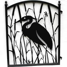 Small Picture Heron in the Reeds Metal Art Iron Garden Gate 29900 via Etsy