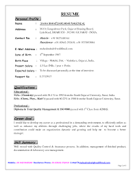 Examples Of Cv Personal Profiles Profesional Resume Template