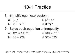 10 1 practice simplify each expression