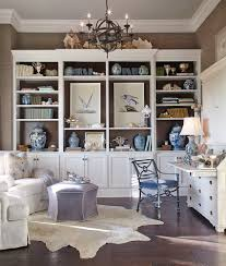 Office:Chic Beach Style Home Office With White Open Cabinet Also Black  Chandelier Plus White