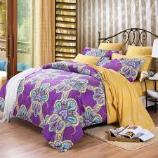 purple and yellow bohemian boho chic western paisley print 100 cotton satin full queen size bedding sets