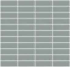 1x3 inch gray glass subway tile stacked zoom
