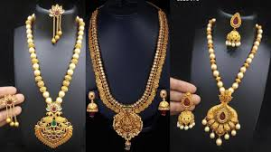 Laxmi Pearls Designs Latest Lakshmi Jewellers Gold Pearl Necklace Designs