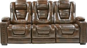 1 599 99 eric church highway to home renegade brown leather power plus reclining sofa contemporary