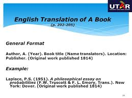 apa style guide th edition ppt  general format author a year book title translators