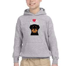 Rottweiler Size Chart Amazon Com I Love My Rottweiler Kids Basic Hooded
