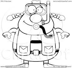 Cartoon Clipart Of A Black And White Chubby Female Scuba Diver ...
