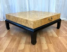 burl wood coffee table with drawers attributed to henredon 4