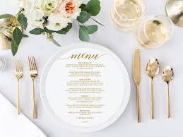 Round Wedding Menu Printable Wedding Menu Circle Menu