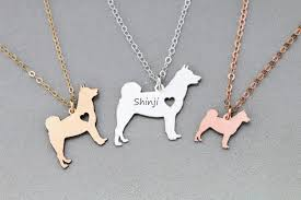 shiba inu dog necklace personalized silver rose gold prev