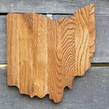 ohio state shape wood cutout wall art handcrafted from repurposed oak flooring 14x17 in wedding