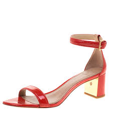 tory burch red patent leather cecile block heel ankle strap sandals size 40 nextprev prevnext
