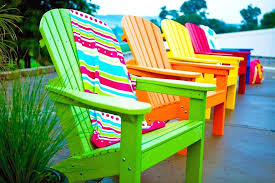 colorful patio chairs row bright colors colored plastic