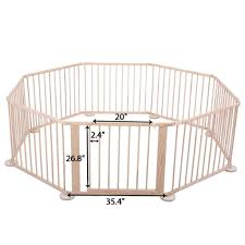 lazymoon wood baby playpen 8 panel kids safety play center yard home indoor outdoor fence