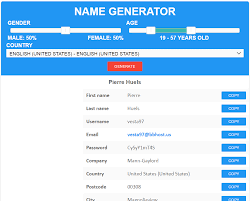 Name Random Fake Data - Generator Registration