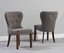 knightsbridge studded grey fabric dark oak leg dining chairs pair