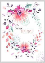 Postcards For Birthday Victoria Nelson Floral Loose Watercolour Oval Wreath