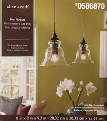 allen roth mini pendant light fixture glass shade oil rubbed