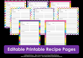 Editable Printable Rainbow Recipe Pages Instant Download All