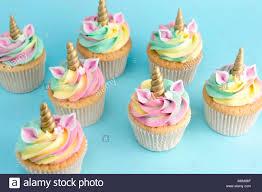 Unicorn Buttercream Cupcakes Turquoise Background Stock Photo