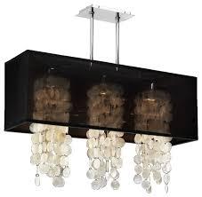 33 w rectangular shaded capiz shell chandelier omni 627c