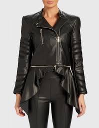 lily black pu waterfall jacket