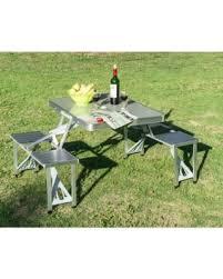 aluminum picnic tables. New MTN-G Outdoor Portable Folding Aluminum Picnic Table 4 Seats Chairs Camping W/ Tables