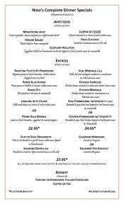 Dinner Menu | Nino's Restaurant