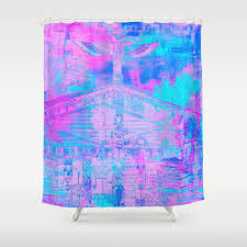 totem cabin abstract hot pink turquoise shower curtain
